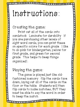 Match! Second Grade Sight Words