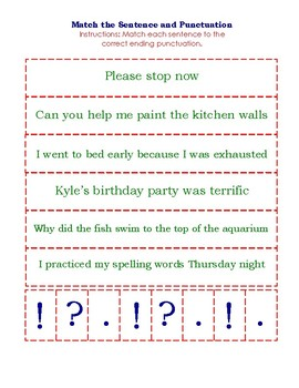 Match Sentence and Punctuation Card Game (more new sentences!)