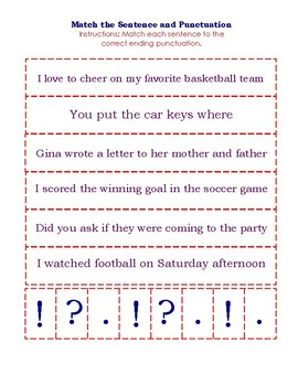 Match Sentence and Punctuation Card Game (new sentences)