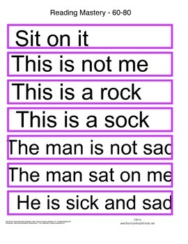 Match Sentence to Word - Reading Mastery K Lessons 1-60
