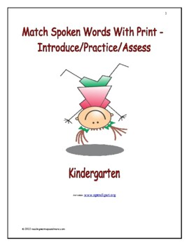 Match Spoken Words with Print: Introduce/Practice/Assess -