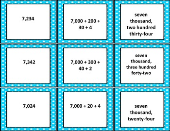 Match Standard, Expanded, and Written Form Place Value Triplets