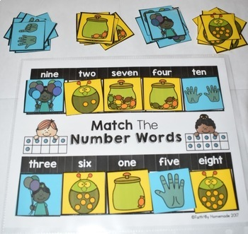 Match The Number Words Counting Activity Center {Numbers to 10}