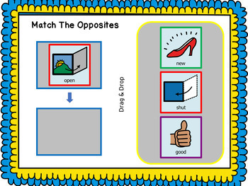Opposites Interactive Digital Task Cards - L1 Match Them Up