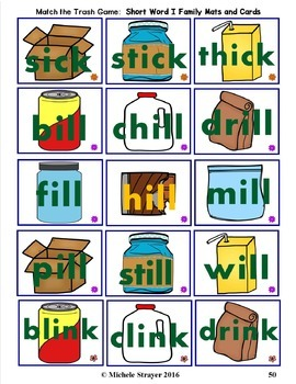 Match The Trash:   CVC Word Family Activities
