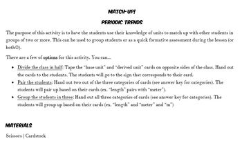 Match Up! Base Units vs Derived Units