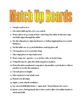 Match Up Board Plans