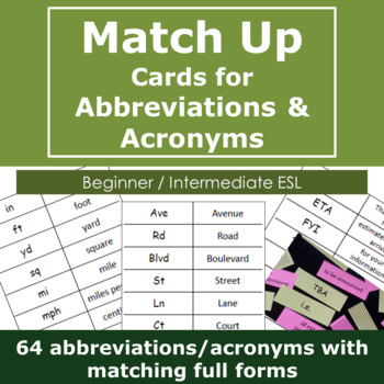 Match Up Cards for Abbreviations and Acronyms