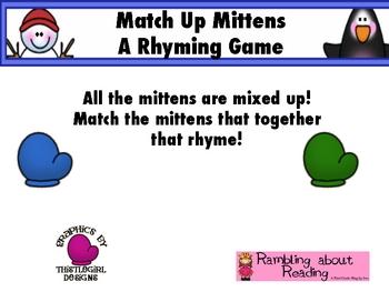 Match Up Mittens {A Rhyming Game}
