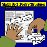 Match Up Activity #3: Poetry Structures