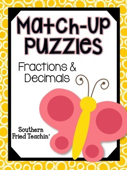 Fractions & Decimals Fun Match-Up Puzzles