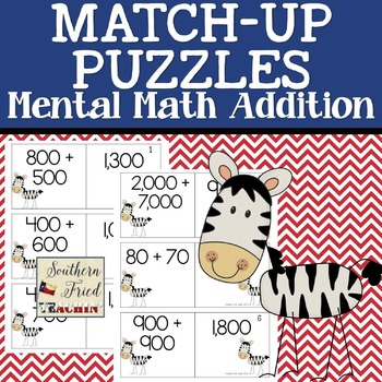 Addition Mental Math Facts Fun Match-Up Puzzles