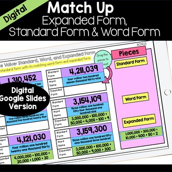 Standard Form, Expanded Form, Word Form: Match Up
