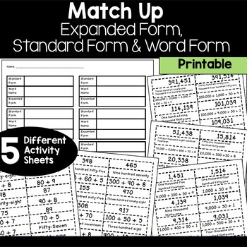 Standard Form Expanded Form Word Form Match Up By Heather Johnson 33