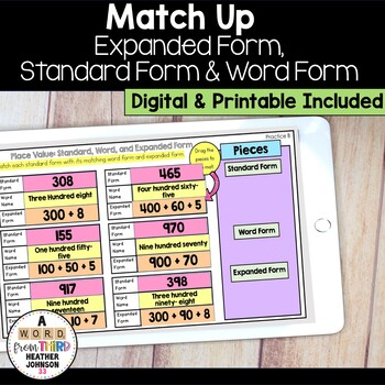 Match Up: Standard Form, Expanded Form, and Word Form