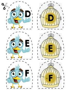 Match Uppercase Letters | Birds & Birdcages