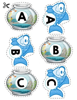 Match Uppercase Letters | Fish & Fish Bowls