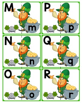 Match Uppercase to Lowercase Letters | St. Patrick's Day Leprechauns