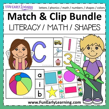 Match and Clip Letters, Numbers, Shapes & Colors Bundle