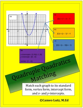 Match and Compare a Quadratic Graph to its Standard, Vertex, and Intercept Form