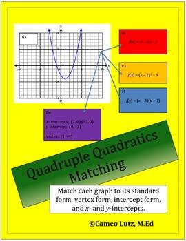 Match and Compare a Quadratic Graph to its Standard, Verte