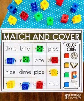 Match and Cover {CVCe Center to teach CVCe Words}
