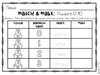 Match and Make Numbers 0-10