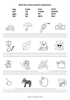 Match and Write Words for Pictures