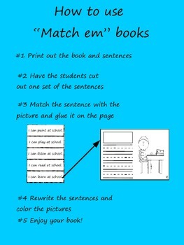 """Match em"" Easy Reader:  At School **Freebie**"