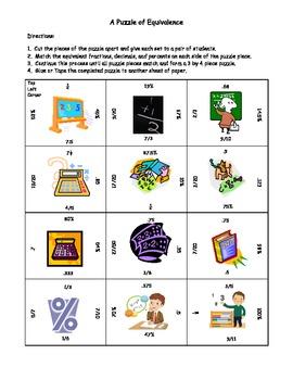 Match equivalent fractions, decimals, and percents puzzle