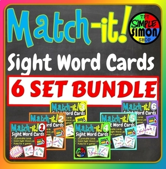 Match-it Sight Word Cards Dobble Spot It Game BUNDLE