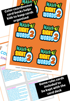 Sight Word Card Game (Dobble, Spot It type game) Set2