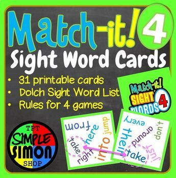 Match-it Sight Word Cards Dobble Spot It Game Set4
