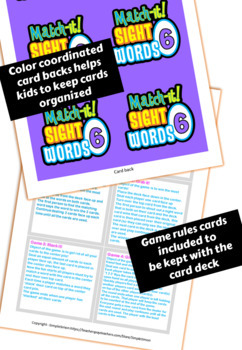 Sight Word Card Game (Dobble, Spot It type game) Set6