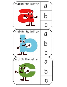 Match lowercase to lowercase letters clothespin activity cards