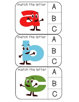 Match lowercase to uppercase letters clothespin activity cards