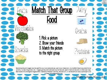 Match that Group! FOOD: Game for naming, sorting, categorizing, EET support