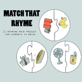Match that Rhyme: Rhyme Pair Puzzles *Back to School Freebie!*