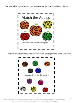 Apple Matching Lunch Sack Book Special Education Preschool Sorting