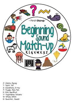 Beginning Sound Match-up - Hearing Initial Sounds- KJQVWXYZ
