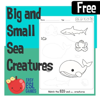 Match the Big and Small Sea Creatures - Easy Free handout for preschool & Kinder