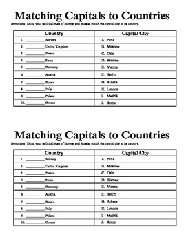 Match the Capital to the Country Chart