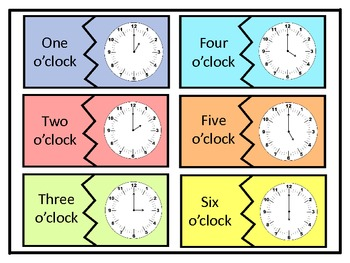 Match the Clocks to the Hour and Half Hour