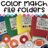 Match the Color File Folder Activities for Special Education