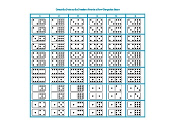 Match the Dots on the Dominos Four in a Row-Turquoise Game
