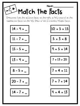 Match the Facts Addition/Subtraction Related Facts
