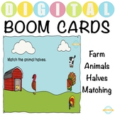 Match the Farm Animal Halves for toddlers - Boom Cards™