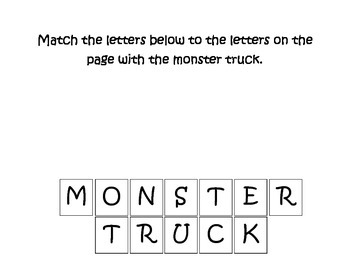 Monster Truck Match the Letters