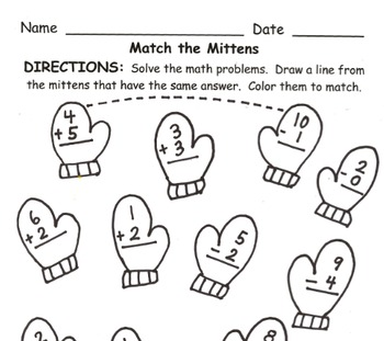 Match the Mitten and Match the Sock Math Practice