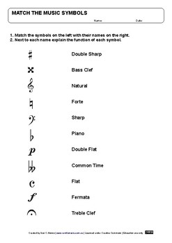 Match the Music Symbols and explain their function